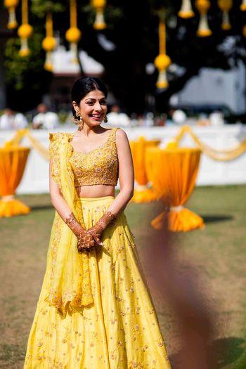 Yellow lehenga for mehendi or sister of the bride