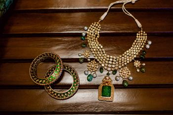 Unique bridal jewellery in green kada and necklace