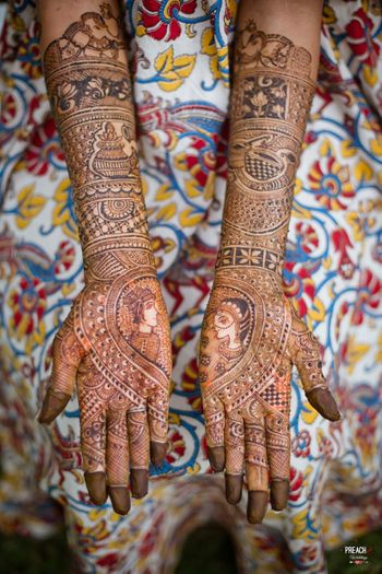 Unique bridal mehendi with half and half design and portraits