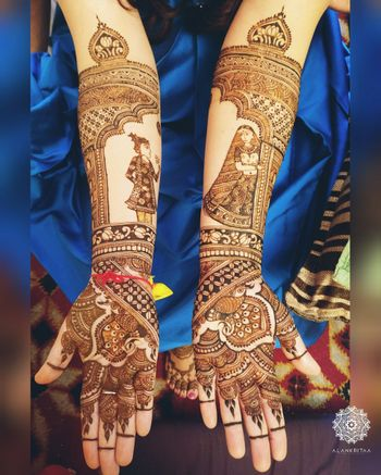 Modern Mughal mehendi design with bride and groom
