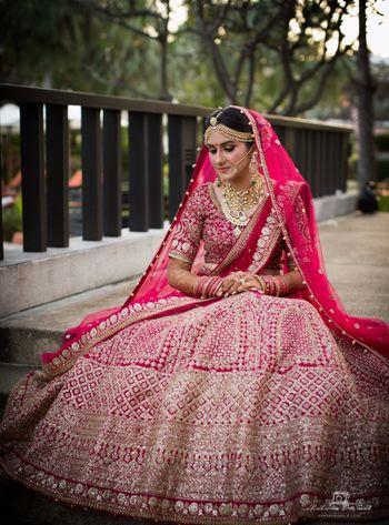 Heavy bridal maroon lehenga
