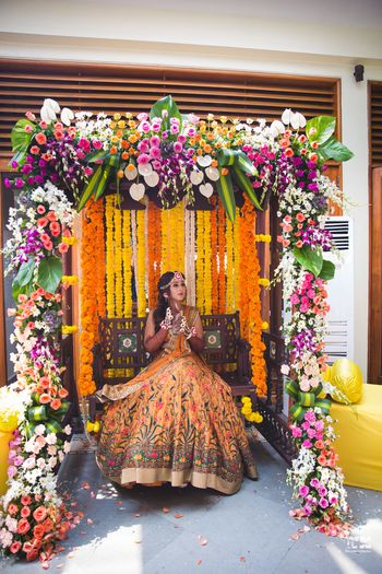 Bridal swing for mehendi with floral decor