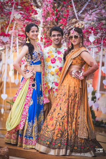 Mehendi lehenga for bride and bridesmaids floral embroidery