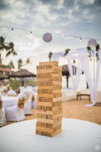 Jenga as centrepiece for guests as centrepiece