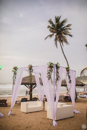 Beach wedding seating idea with mandap