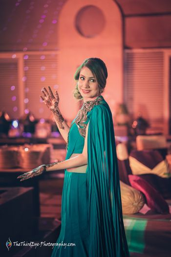 Teal cape mehendi outfit