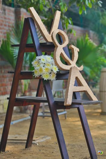 Corner decor idea with ladder and monograms