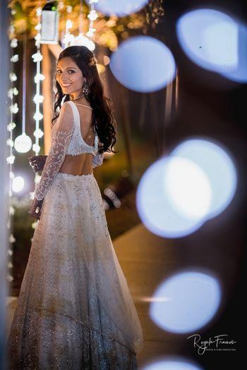 Bride looking back shot on engagement