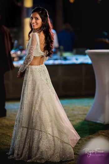 Pretty white and gold lehenga for engagement