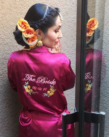 Personalised bridal robe with wedding date