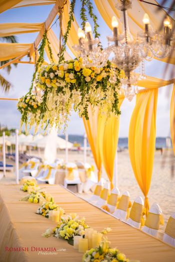 Yellow floral decor for an outdoor decor
