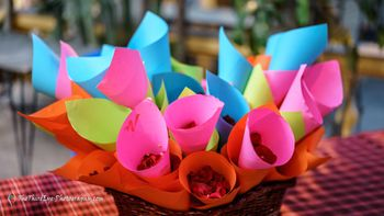 Idea for petals in cones for guests to throw