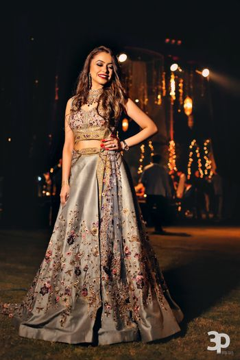 Grey and silver sangeet lehenga with floral motifs