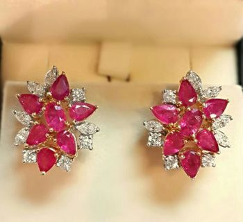 rubies and diamonds stud earrings