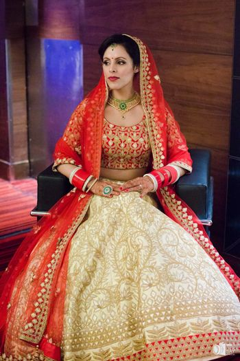 Red and gold simple bridal lehenga