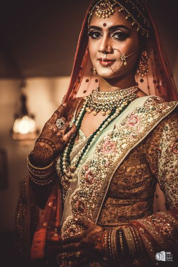 Red and green bridal lehenga for offbeat bride