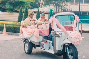 Bride and groom exit idea in auto