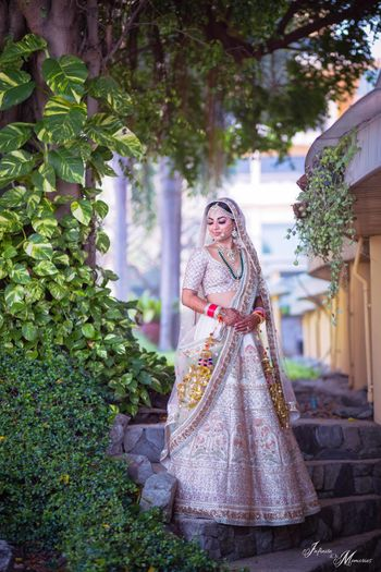 White embroidered bridal lehenga for offbeat bride