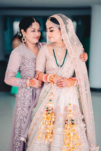 Bridal portrait offbeat bride with mother