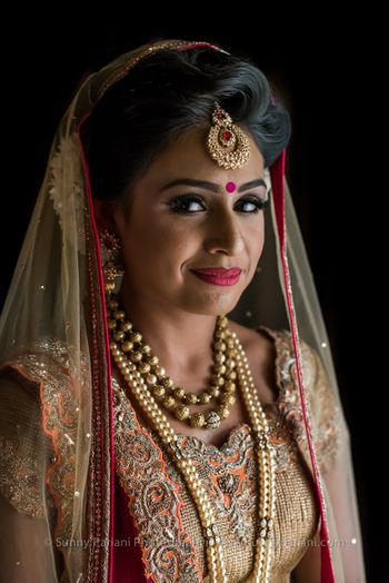 Peach and Gold Lehenga Bridal Portrait