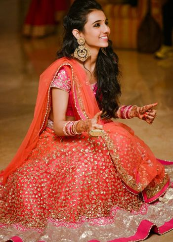 Photo of Orange Glitter Lehenga and Gold Chandbalas
