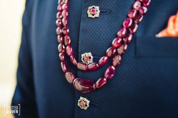 Groom necklace with embellished buttons