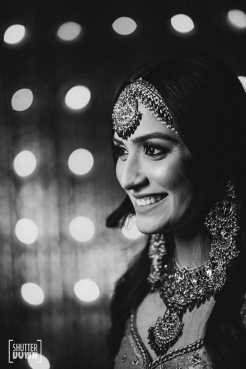 Smiling bride black and white shot