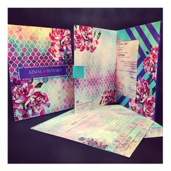 Photo of honeycomb effect wedding card