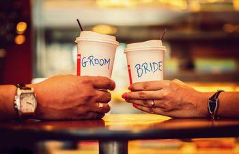 Bride and groom cups pre wedding shoot