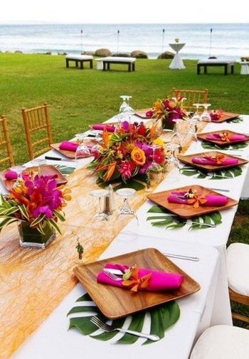 Photo of Engagement brunch table seating with tropical theme