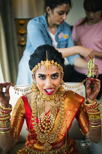 South indian bridal look with crazy bridal expressions