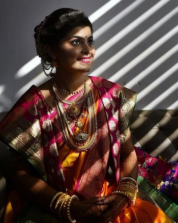 Bridal portrait with shadow from blinds