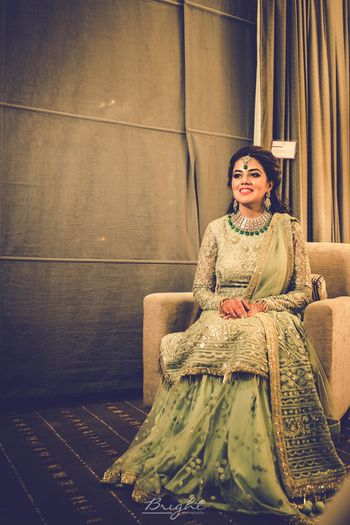 Light green sharara with kurta for engagement