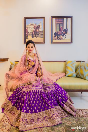 Purple and pink lehenga with gold work