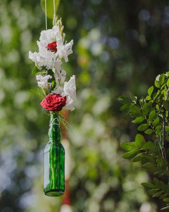 Hanging floral arrangement with beer bottle