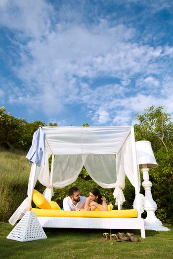 Cute glamping pre wedding shoot set up