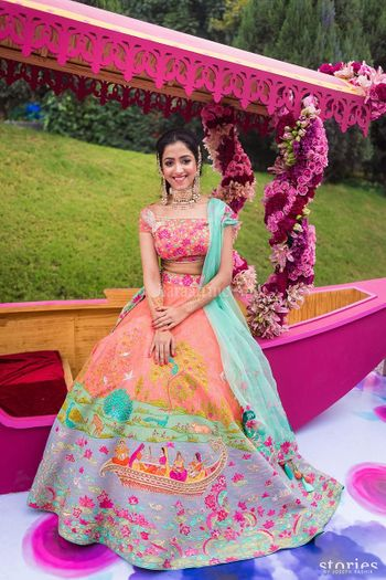 Customised artwork lehenga for mehendi