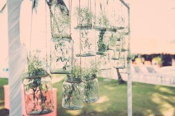 Hanging Mason Jars with Plants