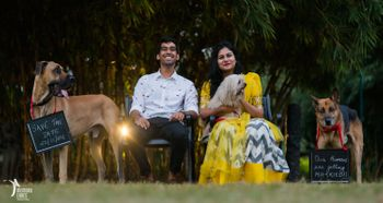 cute pre-wedding shoot with dogs