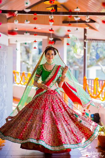 Lightweight red and green bridal lehenga