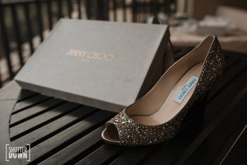 Sparkly silver bridal jimmy choo shoes