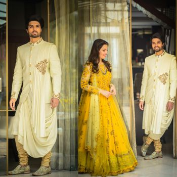 Photo of Unique groomswear and heavy yellow anarkali