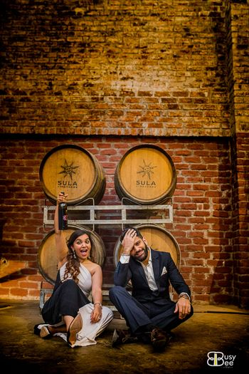 Cute couple portrait vineyard shot pre wedding