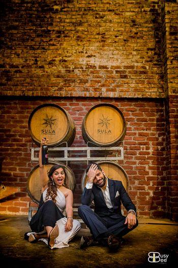 Cute couple portrait vineyard shot pre wedding