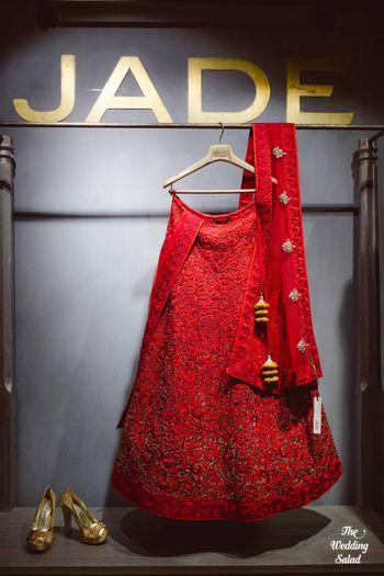 red glittery lehenga