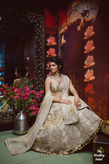 gold and off white lehenga
