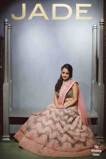 Photo of grey and pink lehenga