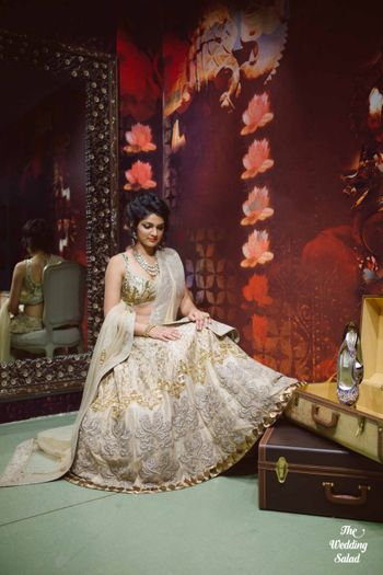 gold and white lehenga