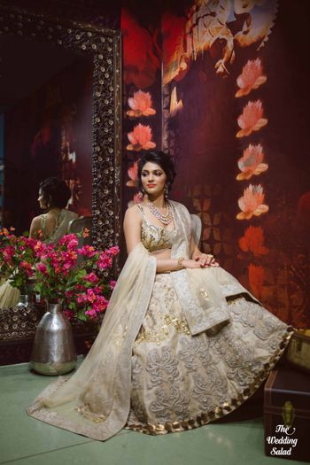 white and gold lehenga