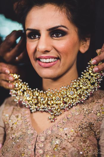 Photo of Stunning polki bridal necklace with dangling pearls